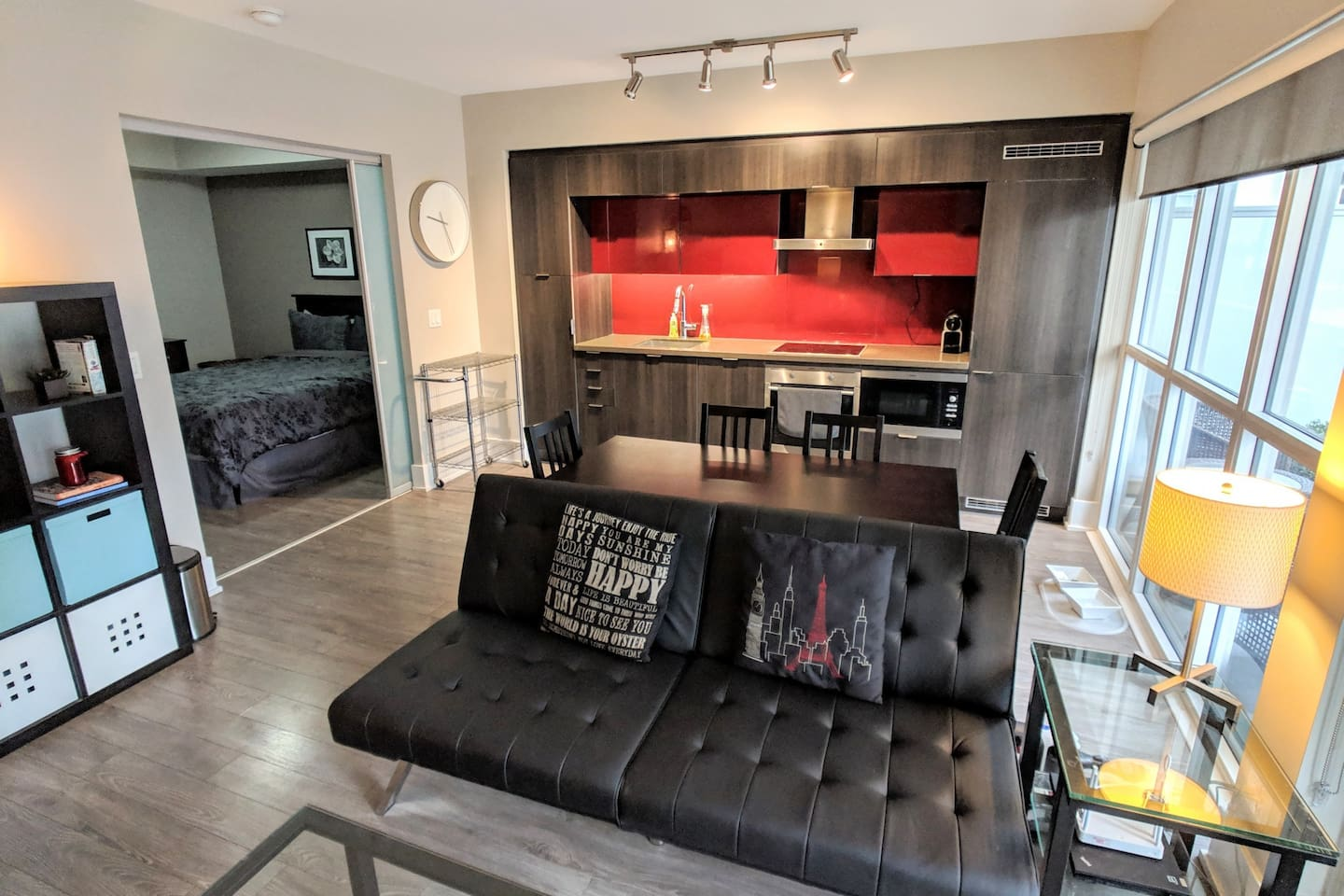 Large living room with open kitchen