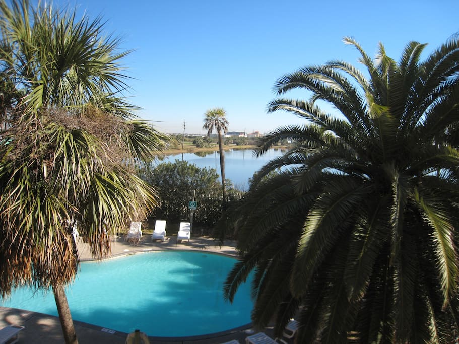 Beautiful view of the heated pool right from your balcony