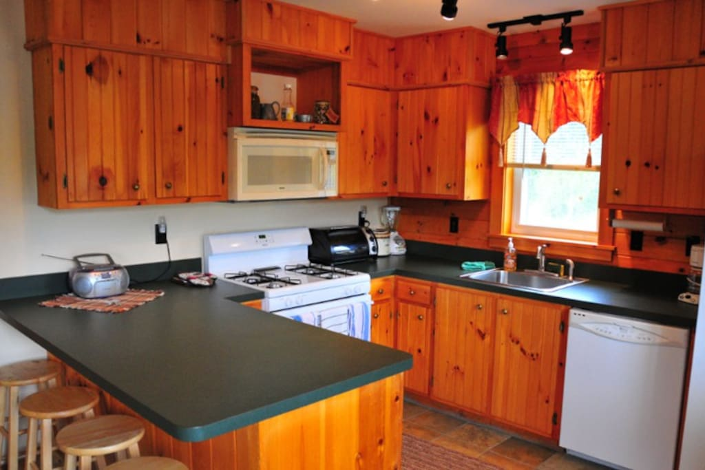 Spacious kitchen with eating area