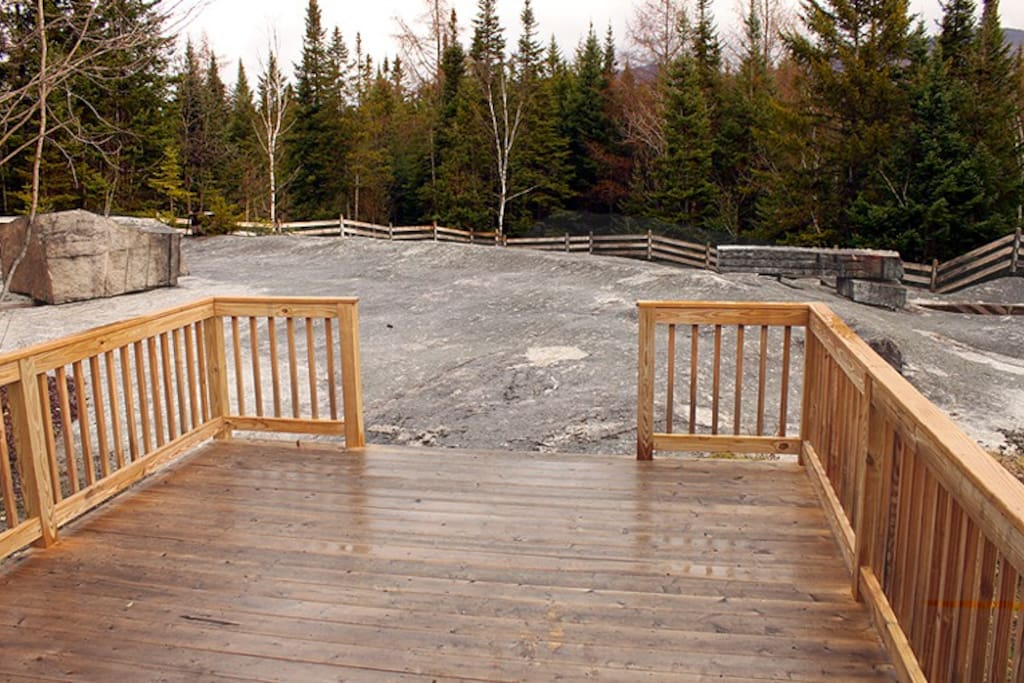Great deck overlooking former granite quarry