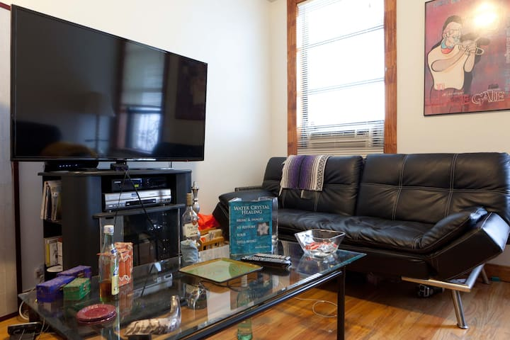 55 inch television in cozy living room, overlooking a long stretch of park.