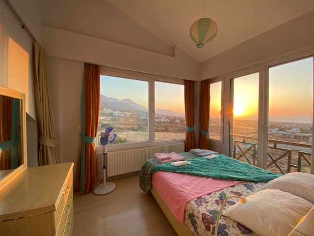 Sea and mountains views from master bedroom.