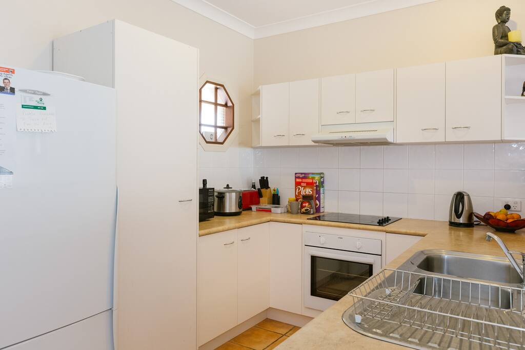 Fully stocked kitchen with oven, microwave, toaster etc....