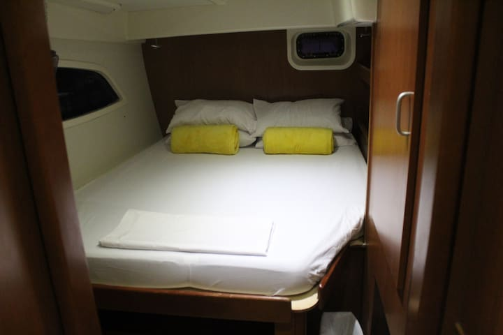 Main Bedroom Aft cabin with private toilet and shower.