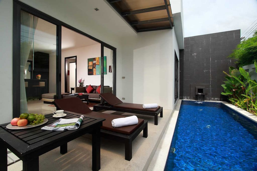 Private swimming pool and connect to living room