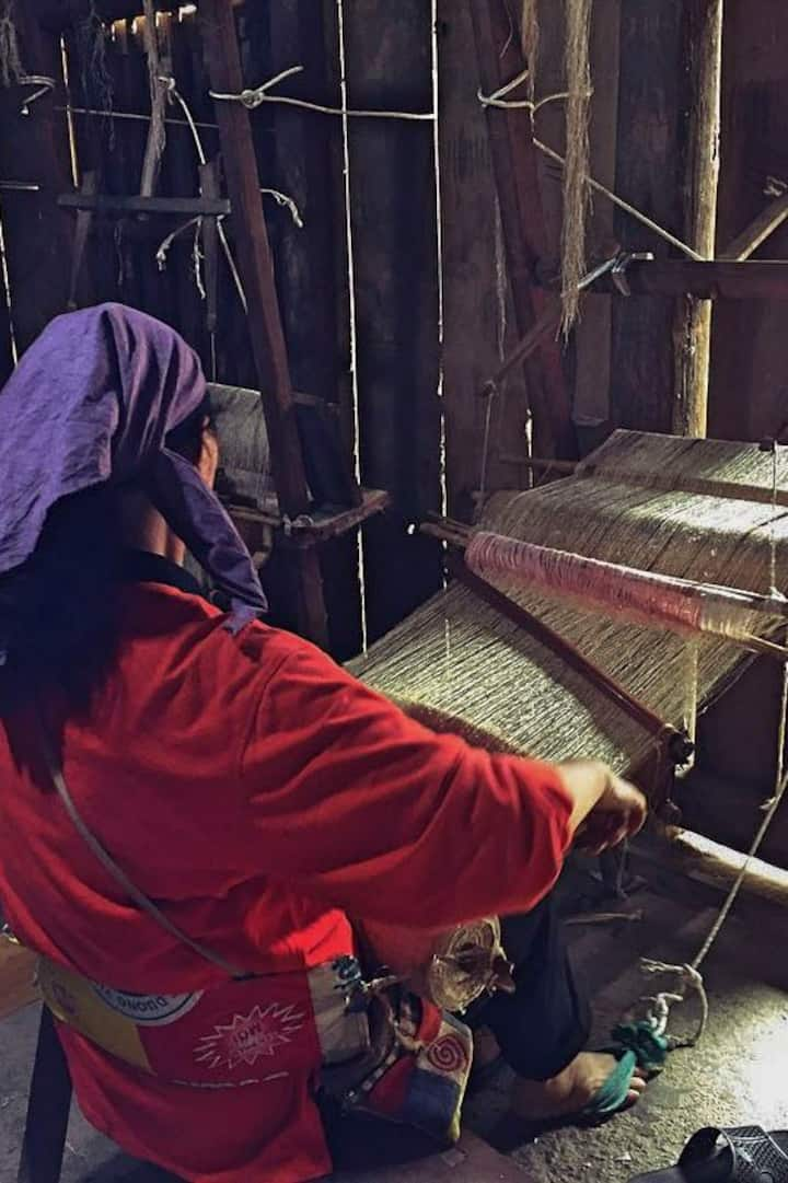 Hmong Women making traditional linen.