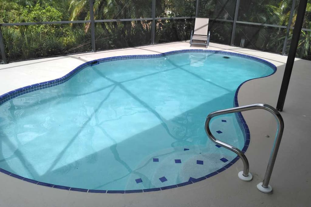 The salt water, heated pool is ready for you. Are you ready to dive in it?