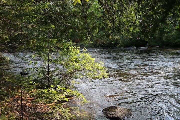 The Oconto River flows through the edge of the property.