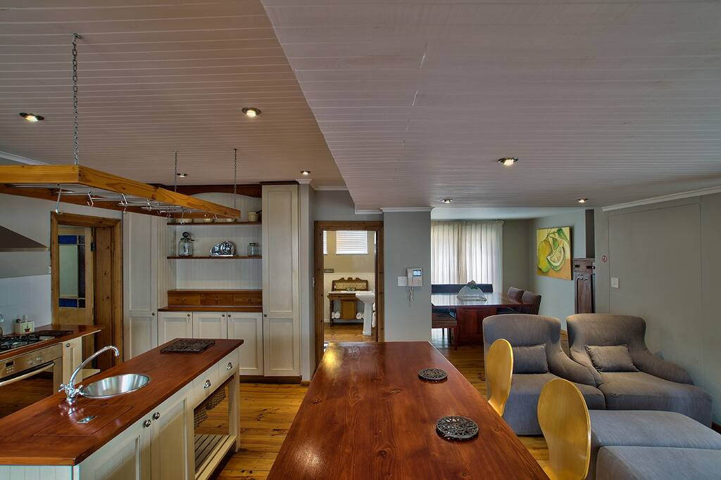 Open plan kitchen, TV room and dining room