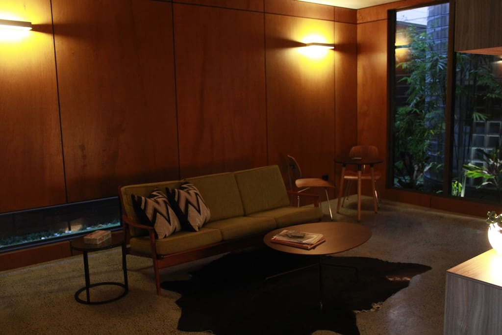 Living area - a quiet retreat with a mid-century vibe.