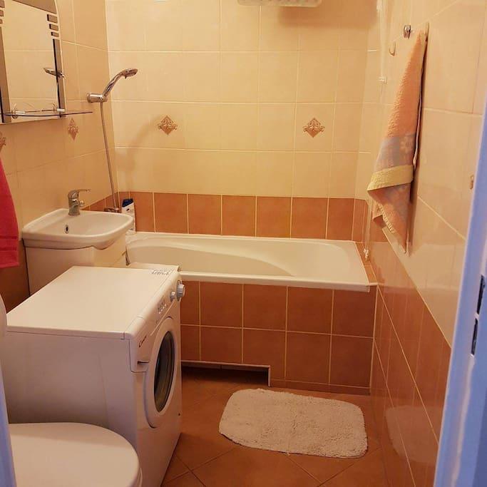 bathroom with wachig machine, feel free to use it