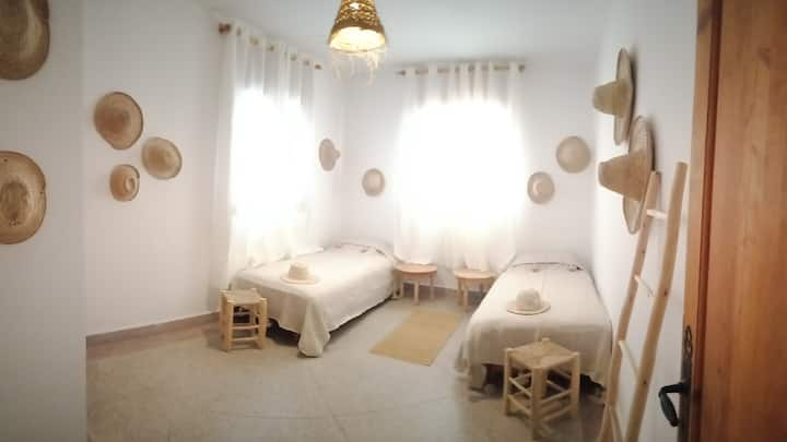 Private Bohemian Twin Room with private bathroom