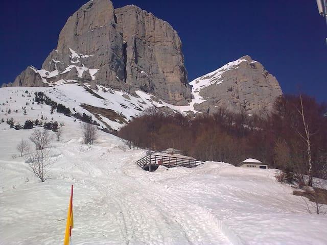 """Nichée au pied des falaises des « Deux Sœurs » (Agathe et Sophie) et de la """"Grande Moucherolle"""" (2284m), la station du Col de l'Arzelier (1154m) ."""