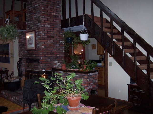 Fireplace and stairs to rooms.