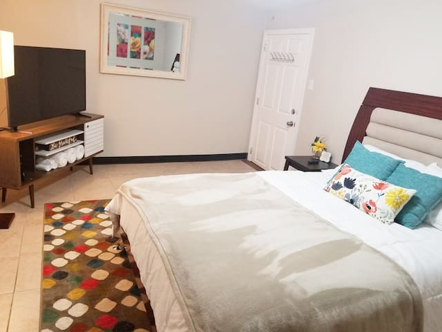 Lower level Queen bedroom with 50 inch 4k Wifi Television Room #5