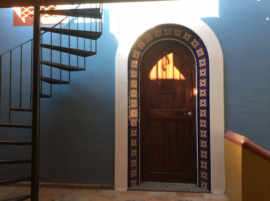 Casita entrance and roof top stairway