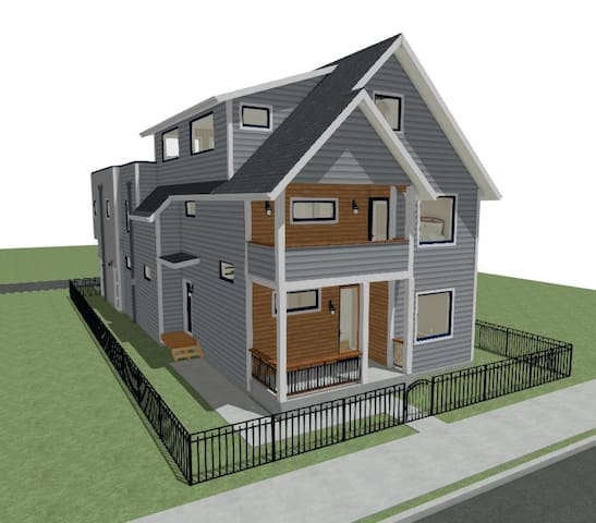 Professional photos coming soon! Theses are Architectural Renderings. Your unit is at the door on left side of house.