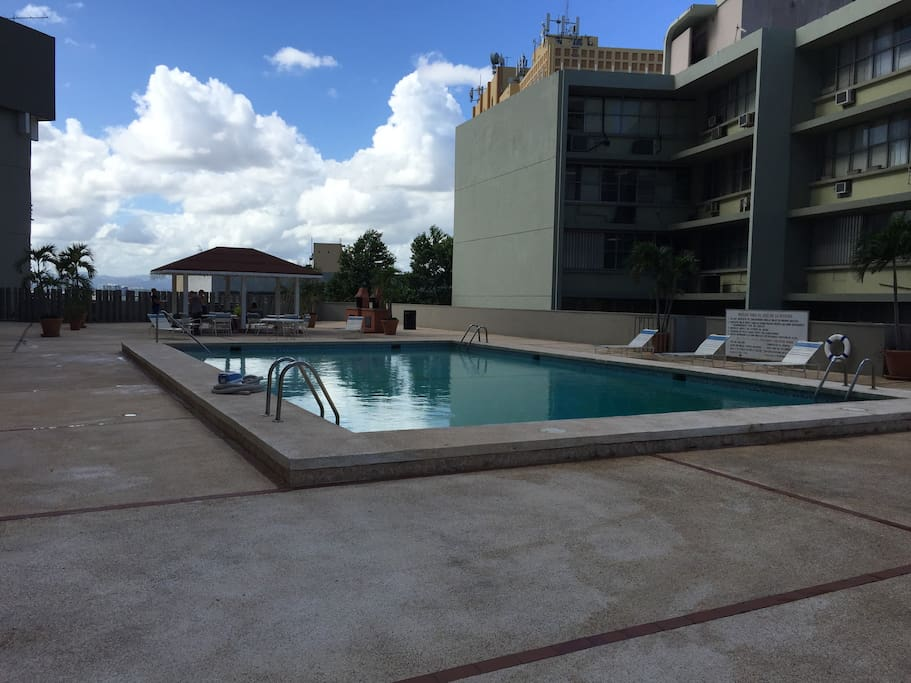 The pool and recreational facilities at the 3rd floor.