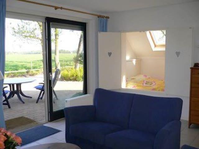 Living room, garden view and bedstead