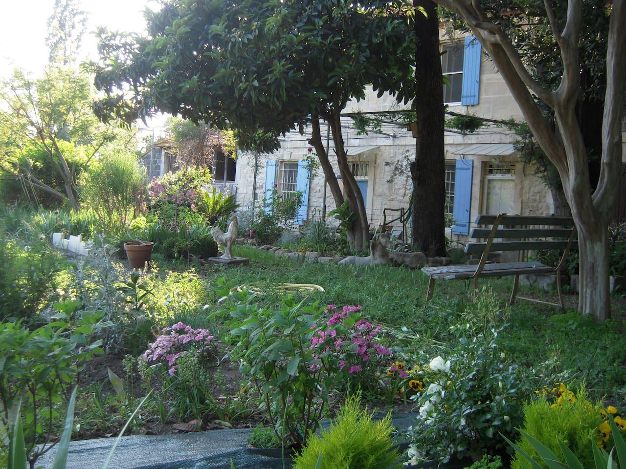 Vue sur une partie de la maison, à partir d'un coin du jardin. Il y a un bassin à poissons, des transats, de l'ombre et du soleil...