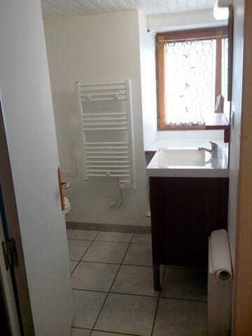 Salle de bain avec toilettes et douche