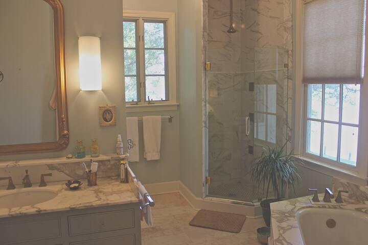 Marble bath, heated floors, Kohler shower tiles & Grohe shower head