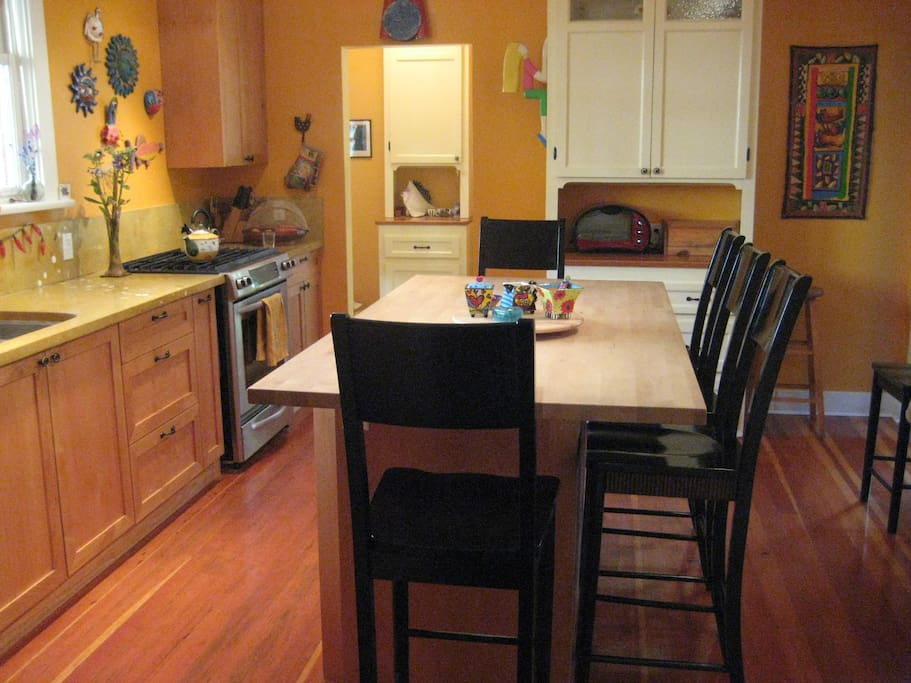 Our spacious kitchen, perfect for hanging out and hosting.