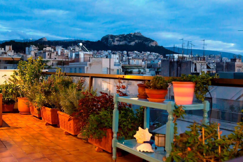 View to Lycabettus Hill from the terrace