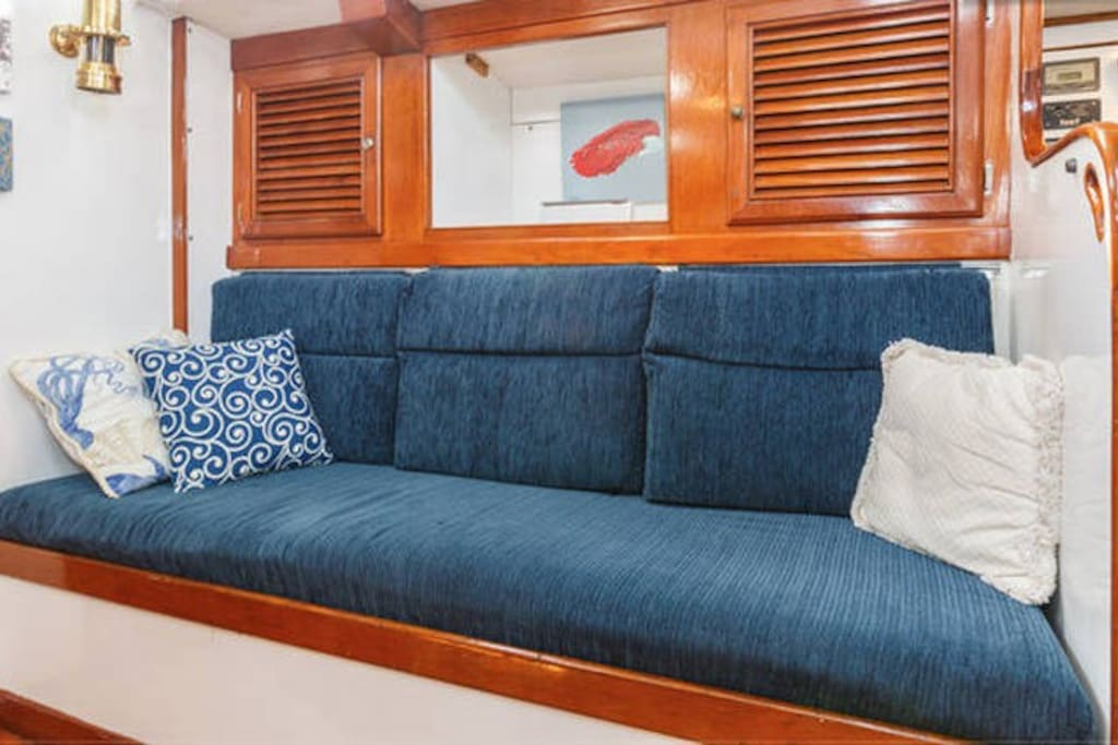 Starboard side of main salon for dining and relaxing
