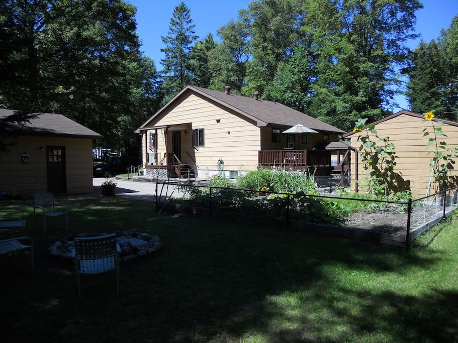 Firepit, bunkie, and rear deck with BBQ...