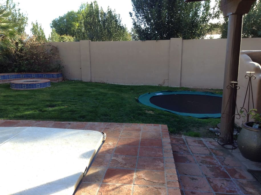 Grass and in ground trampoline