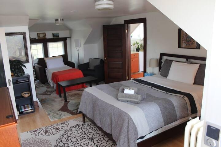 Queen bed and sofa bed arrangement.