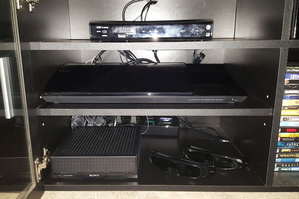 AT&T UVerse cable. 3D Blu Ray Home Theater. 3D Movies available.