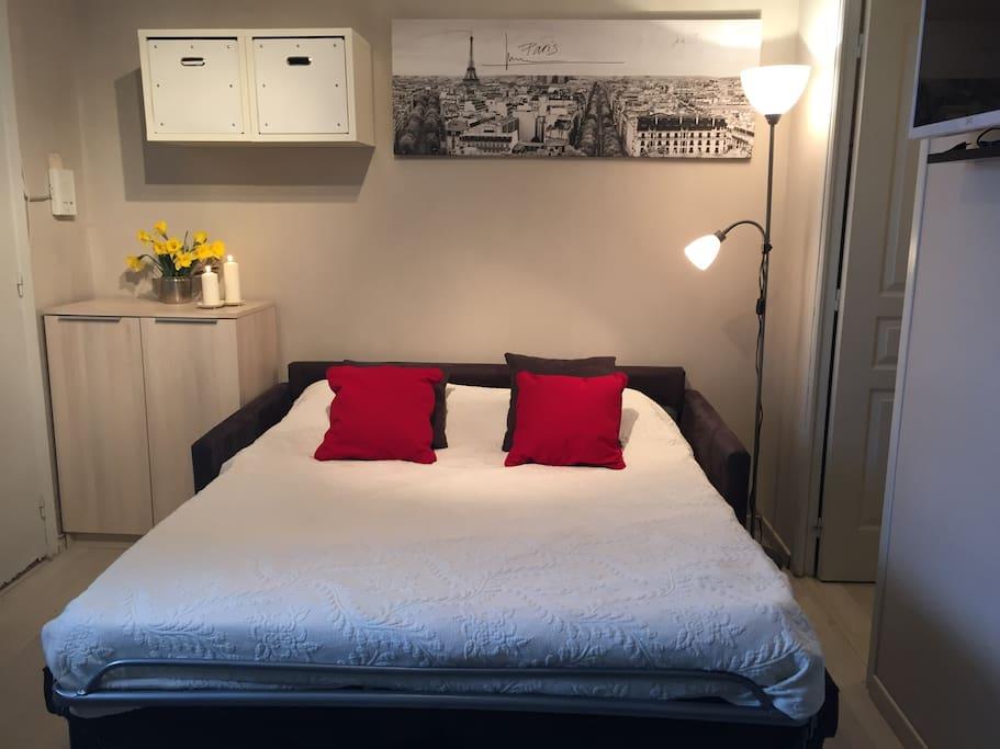 grand canapé lit 2 places confortable et facile a manoeuvrer