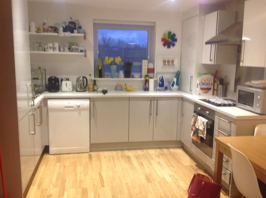 Fully equipped modern kitchen. Washer/ Dryer, Dishwasher, Oven/ Hob, Microwave, Fridge Freezer, Coffee Machine.