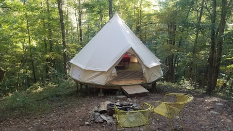 Bell Tent with WoodStove at Parksland Retreat