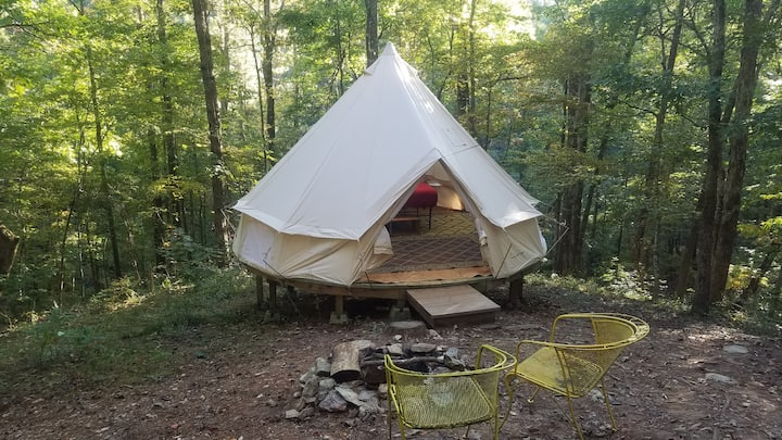 Canvas Sibley Tent with Woodstove at Parksland