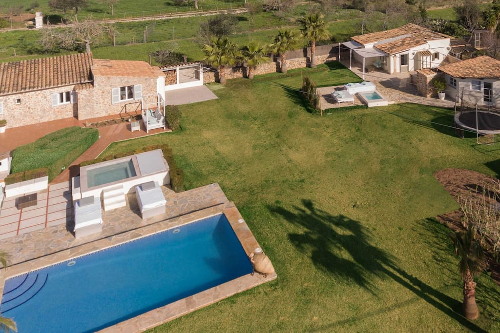 Aerial shot of Can Colom and Guest Cottage