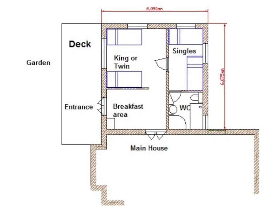 Floor plan of the annex. You have private use of all this space. We access the breakfast area from the main house each morning to set our your breakfast.