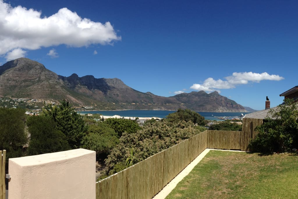 front garden with rolling views of the bay and Chapman's Peak