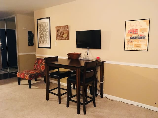 Dining table in living room area