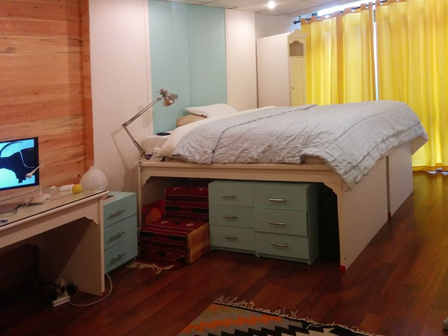 Bedroom designed out of recycled office furniture