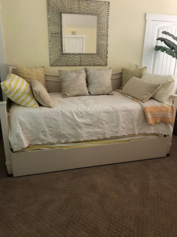 The third bedroom is in the loft and has a half bath and trundle bed. ( 2 single beds)