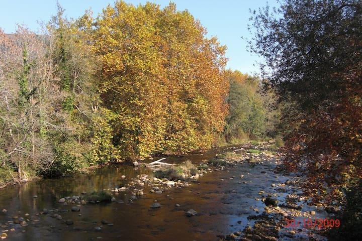 El río Piloña, cerca de la casona