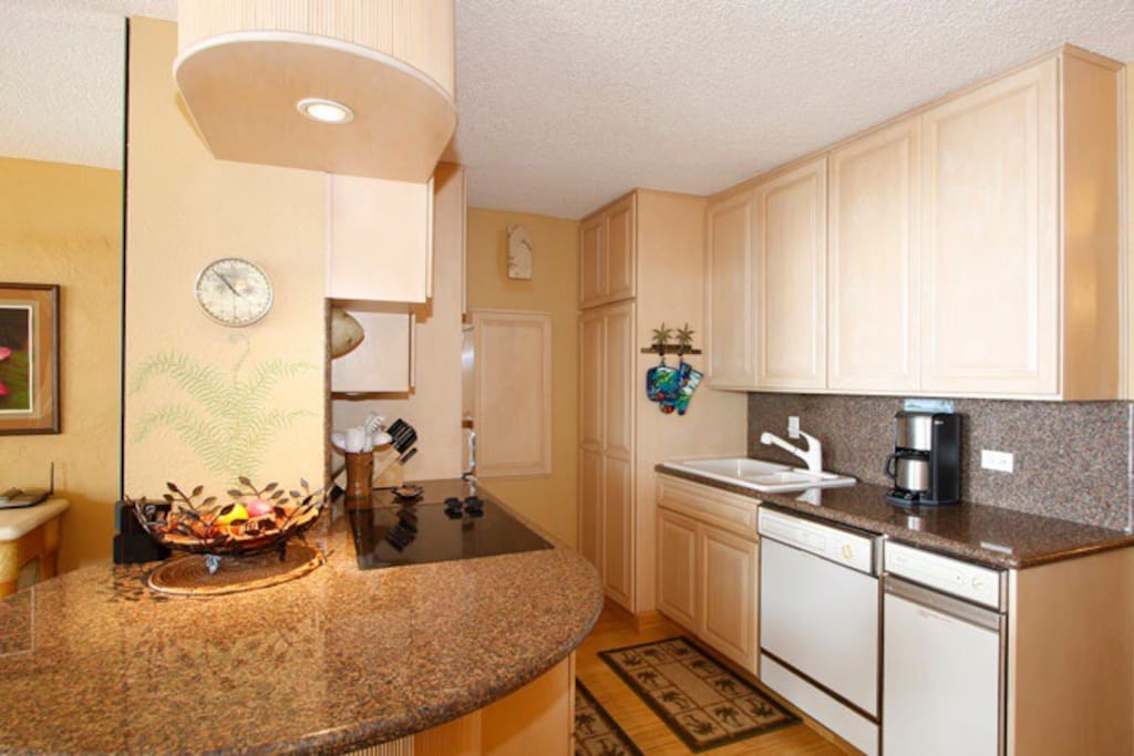 Granit countops and well equipped kitchen.