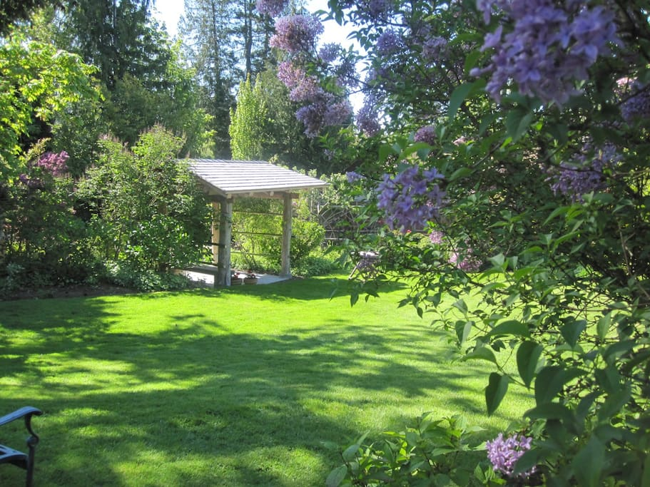 Boxwood Cottage is nestled in a large English style garden.  This gate leads to the creek.