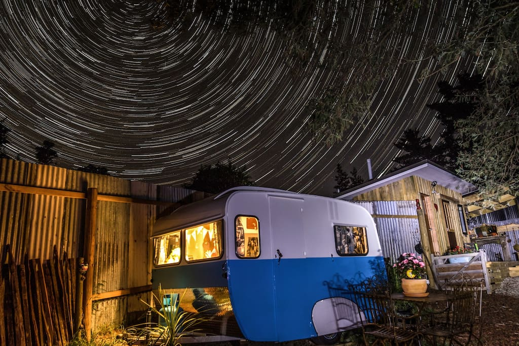 Marvel at the stars from your outdoors bath