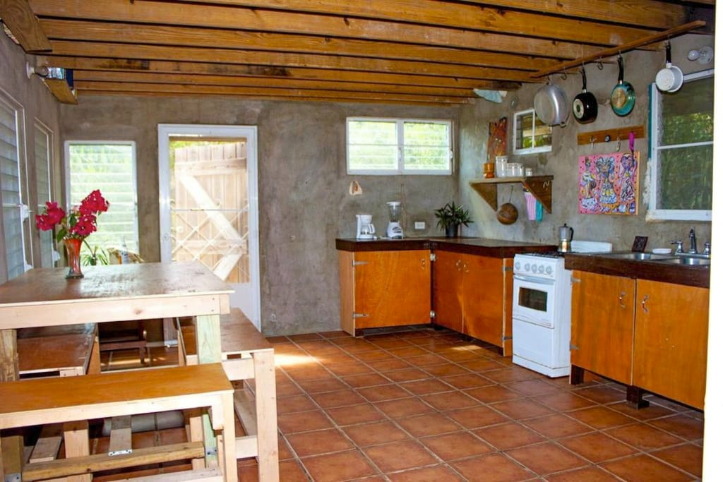 Full kitchen with great light all day long.