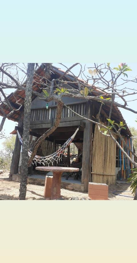 Cabana da Trilha com vista panorâmica para Chapada