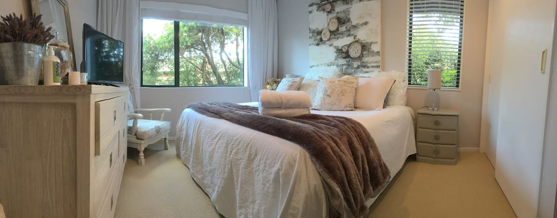 Super comfy and quiet main bedroom.